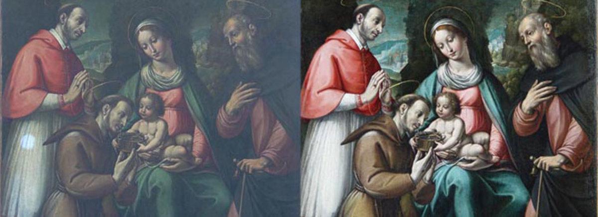 Trước và sau khi làm sạch.  Lần đầu tiên một bài kiểm tra được thực hiện trên chiếc váy nhạt màu của Bishop bên trái.  (Dầu thế kỷ thứ 6 trên vải sau Masaccio - món quà của Chúa Kitô cho Thánh Francis - tài sản của Tổng giáo phận St Andrews & Edinburgh.)