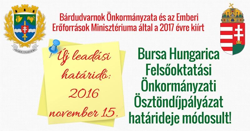 Bursa Hungarica Ösztöndíjpályázat  határideje módosult 2016.11.15