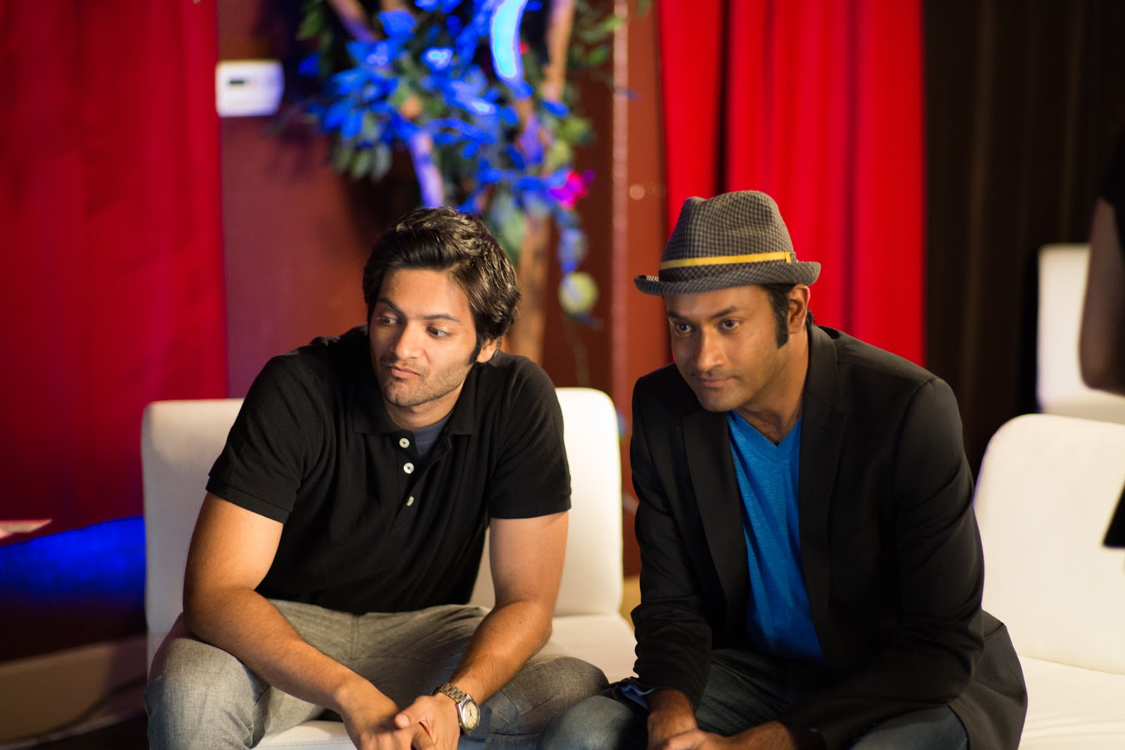 Ali Fazal and Samrat Chakrabarti at Madhuban Indian Cuisine in San Jose, in a scene from 'For Here or To Go?' directed by Rucha Humnabadkar. (Credit: Many Cups of Chai Films)