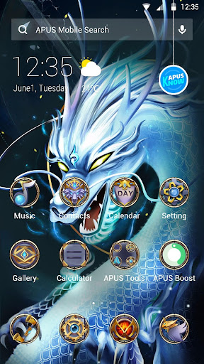 Divine Cool White Dragon-APUS Launcher theme - screenshot