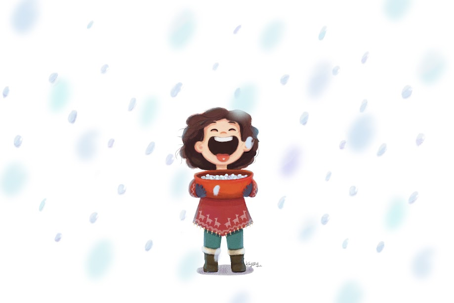 first snow, children, children illustration, girl, little girl, happy