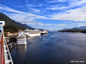 Photo: Here are, from right to left, HALs ms Statendam, Grand Princess (she has no handlebar any longer!) and Silverseas Silver Shadow.