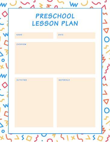 Squiggles Preschool Plan - Planner Template
