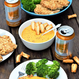 Pretzel-Crusted Chicken with Beer Cheese Sauce.