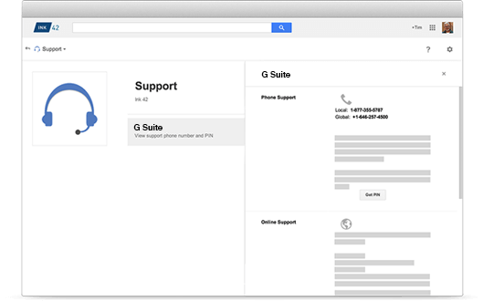 Google Drive phone, chat, email support example