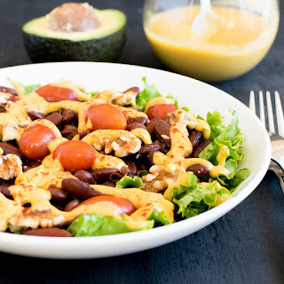 Kidney Beans Salad with Cheesy Avocado Dressing.