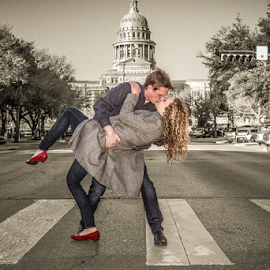 New York Kiss, Austin, Texas Style by Matthew Chambers - Digital Art People ( select color, austin, love, kiss, blonde, red, black and white, austin texas, art, matthew chambers photography, new york, beauty, romance, austin photographer, photoshop, engagement )
