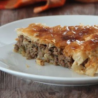 Puff pie with meat and eggplant Balkan-style