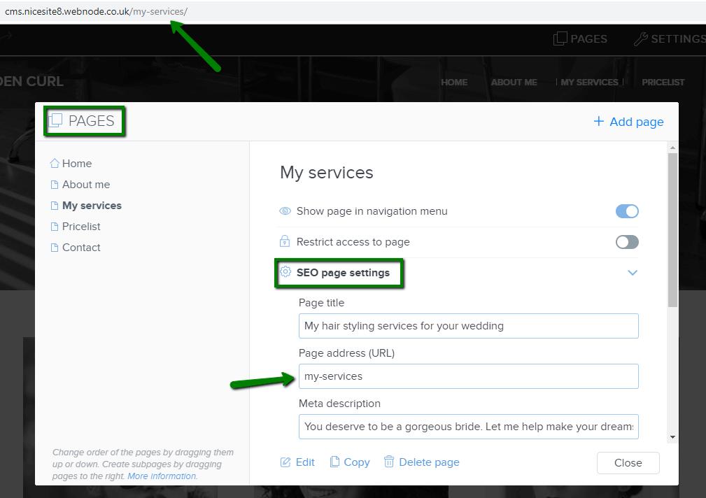 Configuration de votre propre URL de page