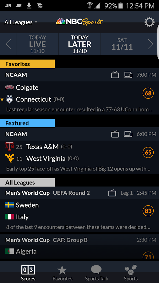 NBC Sports Scores- screenshot