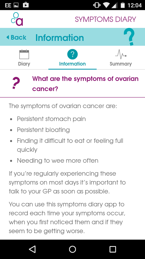 Ovarian Cancer Symptoms Diary- screenshot