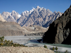 Photo: Cathedral peaks from Hussaini, old hanging bridge in forefront