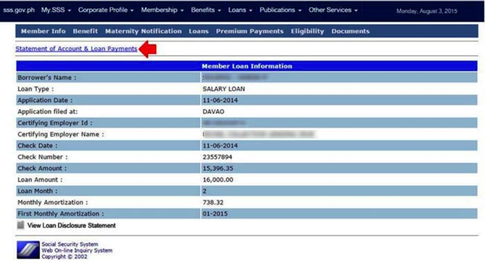 Check or Inquire SSS loan outstanding balance online