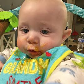 Sweet Potato Face by Sandy Stevens Krassinger - Babies & Children Babies ( orange, sweet potatoes, baby, bib, baby food, messy,  )