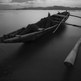 the calm scene in mono by Rob Reyes - Transportation Boats