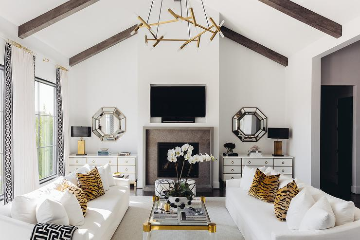 living room design trends spring 2020 with brass gold accents