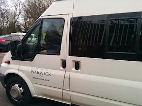 Photo: A minibus of exchangers arrived on campus at midday today, hurray!!! #warcler