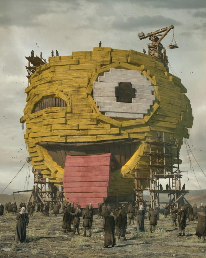 «Первое эмодзи» — картина Майка Винкельмана от 2 сентября 2020 года. Для своих работ художник использует программу Cinema 4D.