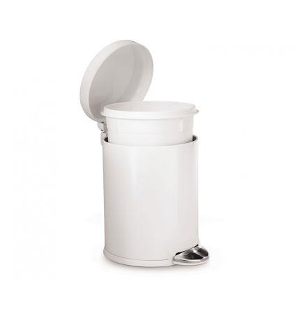 Klassisk rund pedaltunna på 4,5 liter, vit  stål