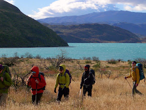 Photo: Day 4, we trek away from Lago Pehoe on the trail to Lago Grey