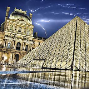 Louvre Museum by Andy Barrow - Buildings & Architecture Public & Historical ( louvre museum musée du louvre paris night )