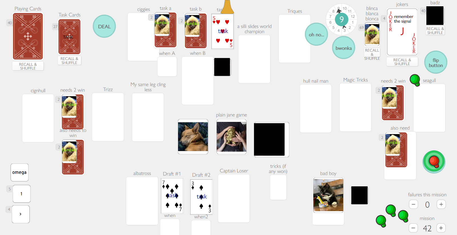 A screenshot of a custom game of The Crew on playingcards.io. The virtual tabletop is filled with cards, images, labels, tokens, many labeled with incomprehensible text labels.