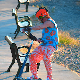 Dancing Tricycler by Rob Bradshaw - Sports & Fitness Cycling ( dancing, sports, flashy, dancing tricycler, cycling, clothes, music, styling, fitness, helmet, clothing, tricycle, fun )