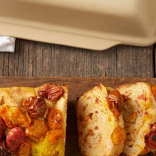 No-Knead Cheddar, Tomato, and Garlic Bread.
