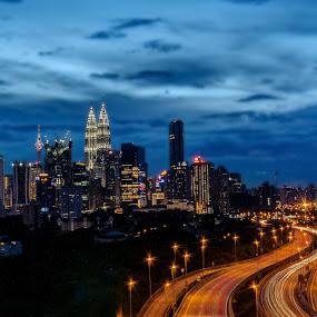 Evening View of Kuala Lumpur Skyline  by Edwin Ng - City,  Street & Park  Skylines ( klcc, kl tower, skyline, lumpur, malaysia, kuala, city )