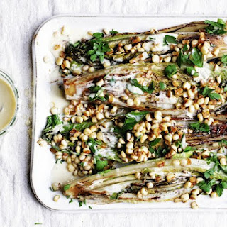Grilled Romaine with Corn and Creamy Anchovy Garlic Vinaigrette.