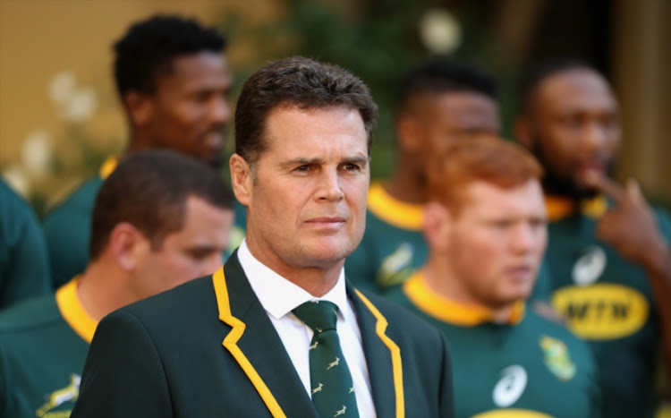 Rassie Erasmus, the South Africa Springbok head caoch looks on during the South Africa media session held at the Pivot Hotel on June 8, 2018 in Montecasino, South Africa.