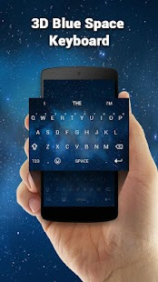 3D Blue Space Keyboard Theme - náhled