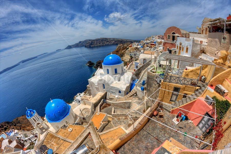 Oia - Santorini by Pawel Tomaszewicz - Landscapes Travel ( fisheye, europe, hdr, greek, greece, tragedy, santoryn, thira, island, history, kaldera, dri, hdri, volcano, blue, oia, view, santorini )