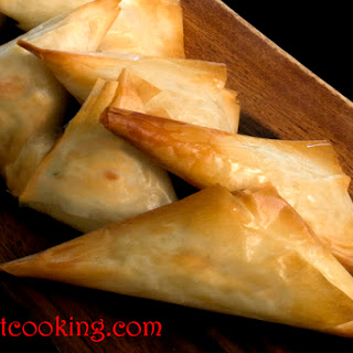 Feta Cheese Filled Filo Turnovers.