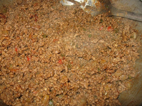 Return meat to skillet and add half the can of the green enchilada sauce,...
