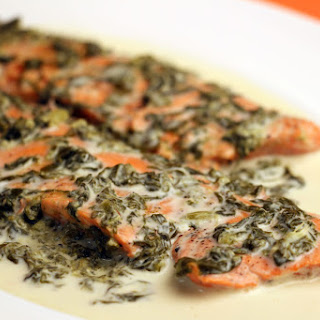 Salmon Scaloppine with Sorrel Sauce.