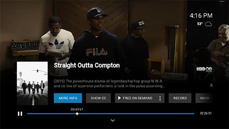 Select audio options for current show on Fiber TV