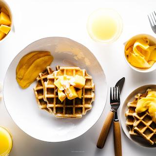 Hello Spring! Crispy Coconut Waffles with Mango.