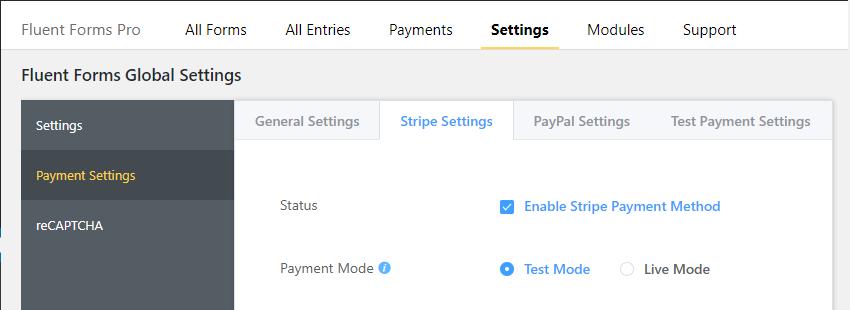 wp fluent forms payment integration, payment integration