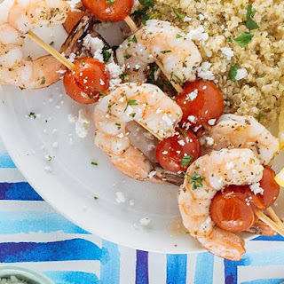 Grilled Shrimp and Tomato Skewers with Feta Quinoa.