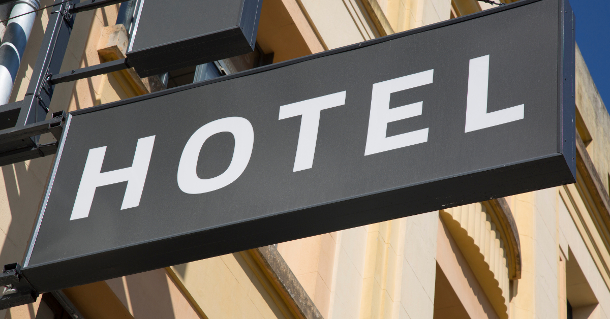 The sign of a hotel outside a hotel