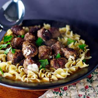 Mozzarella-stuffed Meatballs with Eggy Noodles.