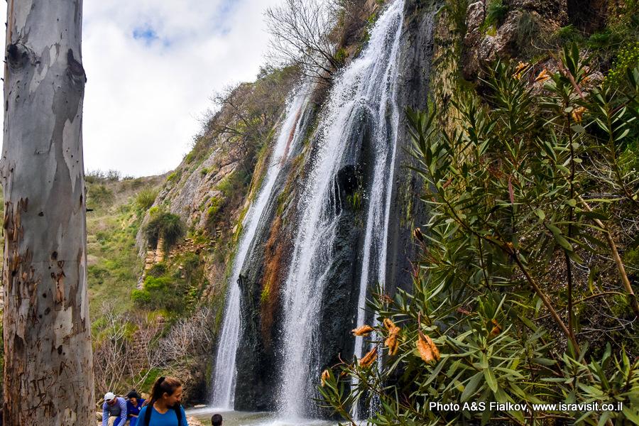 Водопад Ха-Тахана (Мельница) на ручье Аюн. Заповедник Нахаль Аюн. Верхняя Галилея. Израиль.
