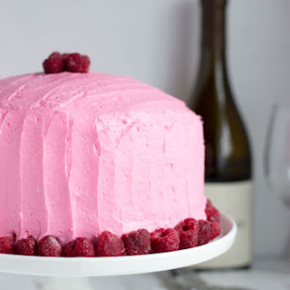 Chardonnay Cake with Raspberry Buttercream