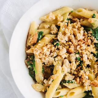 Creamy Spinach Pasta with Cheesy Garlic Crumbs