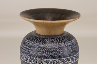 "Photo: Ed Karch 2 1/2"" x 7"" vase - textured and colored [cherry]"
