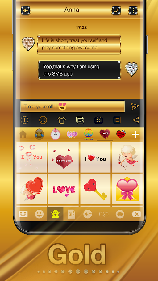 Gold Emoji Keyboard Theme APK 1.1.4 screenshots 3