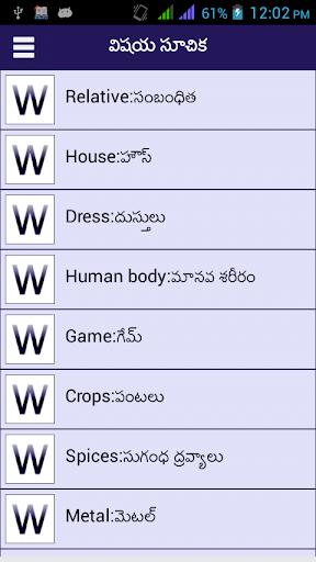 Word Book English to Telugu