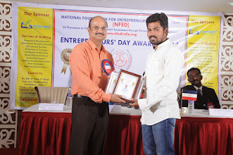 Photo: Chief Guest Mr. A. Devi Dutt Issuing Young Entrepreneur Award to Mr. Gobinath P., Managing Partner, Gabriel Engineering, Coimbatore
