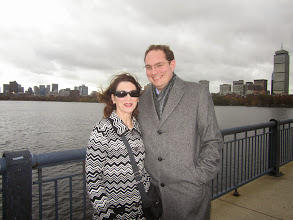 Photo: Ludmilla Leibman and Alexander Soloviev on Harvard Bridge between Cambridge and Boston